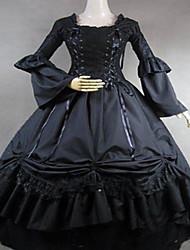 Uma-Peça/Vestidos Gótica Steampunk® / Vitoriano Cosplay Vestidos Lolita Preto Vintage Manga Comprida Comprimento Longo Vestido Para