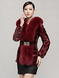 Women's Fashion Casual Large Fox Fur Spliced Genuine/Real Natural Mink Fur Coat/Jacket
