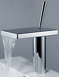 Waterfall Faucet In The Bathroom For Basin Sink Brass Mixer Tap Modern Bathroom Faucet