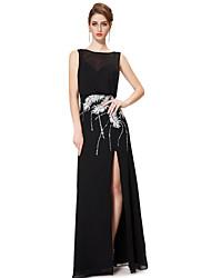 Formal Evening Dress - Black Sheath/Column Bateau Floor-length Chiffon
