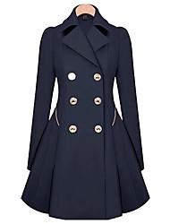 Winni Women's Solid Color Blue / Beige Coats & Jackets , Casual Shirt Collar Long Sleeve Plus Size