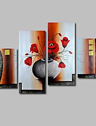 ручная роспись маслом на холсте стены искусства и современные цветы Красные маки три панели готовы повесить