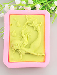 Mermaid Shaped Soap Molds Mooncake Mould Fondant Cake Chocolate Silicone Mold, Decoration Tools Bakeware