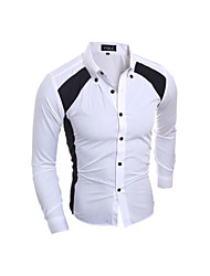 Men's Shirt Collar Casual Shirts , Cotton Long Sleeve Casual / Work Fashion All Seasons WMEN