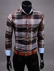 Men's Plaids Casual Shirt,Cotton Long Sleeve Brown / Orange