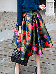 Women's Print High Rise Multi-color Skirts , Casual / Print Midi