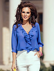 Women's Ruffle Trim Sleeved Blouse