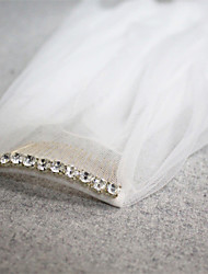 Wedding Veil Rhinestone Comb Two-tier Fingertip Veils Cut Edge