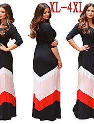 Plus Size (XL-4XL)Women's Plus Size Dresses Women's Patchwork Black Dresses , V-Neck ½ Length Sleeve VICONE