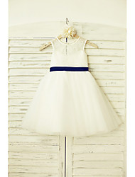 A-line Knee-length Flower Girl Dress - Lace Tulle Scoop with Bow(s) Sash / Ribbon