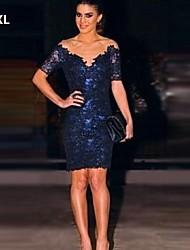 kvinnors sexiga mörkblå klänning, spets 3d transparent