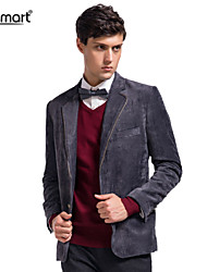 Lesmart Men's Spring Fall Business Casual Coat Single Breasted Easy-care Anti-wrinkle Corduroy Slim Fit Suit Blazers