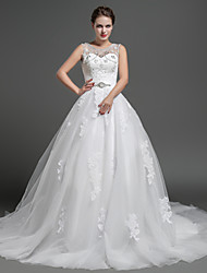 Ball Gown Wedding Dress Chapel Train Jewel Lace / Tulle with Appliques / Beading / Crystal