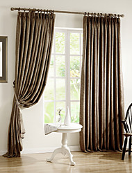 Two Panels Solid Polyester Bedroom Curtain Coffee Blackout Curtains Drapes