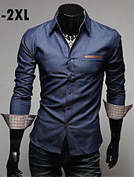 Men's Long Sleeve Shirt , Cotton/Denim Casual/Work/Formal Pure