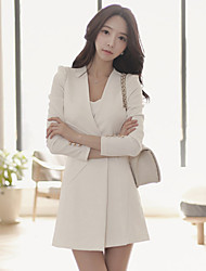 Women's Casual Round Neck / V Neck Long Sleeve Solid Dress