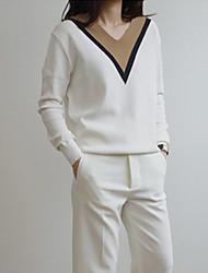 Damen Standard Pullover Retro Patchwork Weiß V-Ausschnitt Langarm Baumwolle Leinen Andere Herbst Dünn Dehnbar