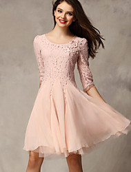 Party/Cocktail Cute A Line / Lace / Swing Dress,Solid Round Neck Above Knee ¾ Sleeve Pink / Black / Yellow Polyester Spring Mid Rise