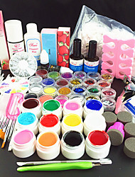 80PCS Pure Color UV Gel Cleanser Primer Nail Art Kit Set