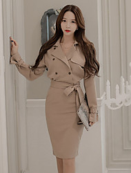 Women's Work Bodycon Dress,Solid V Neck / Shirt Collar Knee-length Long Sleeve White Cotton / Spandex / Others Fall