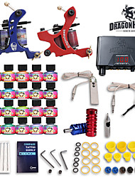 Complete Tattoo Kits 2 Machines 20 SetImmortal Tattoo Inks Lcd Dual Tattoo Power Supply