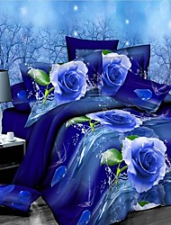 Duvet Cover Set, Blue flowers Suit Comfort Simple Modern Printed 3D Pattern 4 Pcs