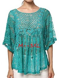 Women's Lace Plus Size Tops & Blouses , Casual/Lace Round ½ Length Sleeve