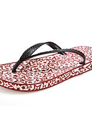 Men's Spring / Summer / Fall / Winter Flip Flops Rubber Casual Flat Heel Black / Green / Red