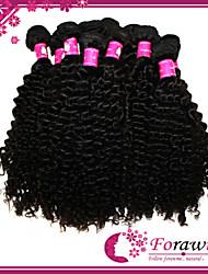 """300g / lot di estensione dei capelli non trattati vergine brasiliana 1b nero onda riccia capelli umani remy tessuto 12 """"-30"""""""