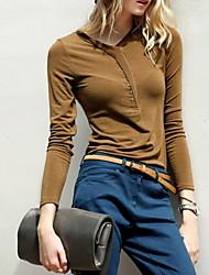 Women's Solid Black / Camel Wrap , V Neck Long Sleeve