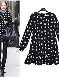 CEN     Women's Polka Dot Black Dresses , Casual Round Long Sleeve