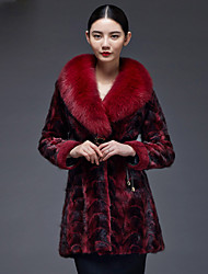 Women's Fashion Casual Bodycon Fox Fur Spliced Genuine/Real Natural Mink Fur Coat/Jacket