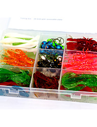 130Pcs 4 Models  Mixed Soft Lure Baits Bionic and Jig Fishing lures with a Box