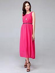 Women's Beach Dress,Solid Midi Sleeveless Red Polyester Summer