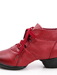 Modern Women's Dance Shoes Sneakers Breathable Leather Low Heel Black/Red/Brown