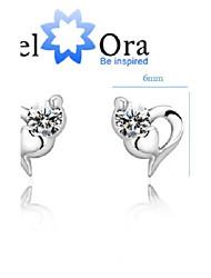 Fine Jewelry 925 Silver Studs Pure Silver Women Earrings Classic Lovely 925 Silver Bow CZ Earrings