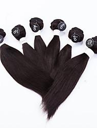 """Шелковистые прямые бразильские виргинские волосы переплетаются 7a сорт 6шт 4x8 """", 1x10"""", 1x12 """"виргинские шелковистые прямые человеческие волосы weave"""