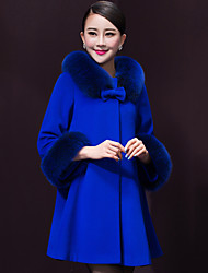 Women's Solid Blue Coat , Casual/Work/Plus Sizes Long Sleeve Wool/Others