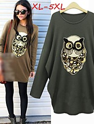 Women's Solid Black/Green Plus Size Dresses , Casual/Cute Round Long Sleeve