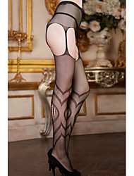 Women's Black Patterned Fishnet Pantyhose