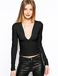 CEN     Women's Solid Color Black T-Shirts , Sexy / Bodycon / Casual V-Neck Long Sleeve