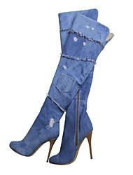 DamenBüro / Kleid / Lässig-Leinwand-Stöckelabsatz-Modische Stiefel-Blau