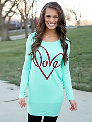 SEXY Women's Color Block Blue T-Shirts , Vintage / Sexy / Casual / Work Round Long Sleeve