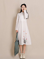 Mulheres Vestido Médio Manga Longa Colarinho Chinês Botão / Bordado Mulheres