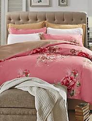 rouge floral ensemble de literie 4pcs de tissu épais de ponçage pour l'automne&saisons d'hiver utilisation