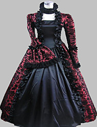 One-Piece/Dress Gothic Lolita Steampunk® / Victorian Cosplay Lolita Dress Purple Vintage Long Sleeve Long Length Dress For WomenSatin /