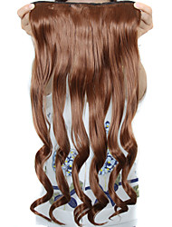 24 pulgadas de largo rizado 5 clips en extensiones de cabello sintéticas resistentes al calor