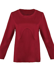 Women's Solid Red Blouse , Round Neck Long Sleeve