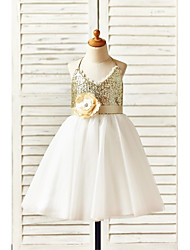 A-line Knee-length Flower Girl Dress - Tulle / Sequined Sleeveless Halter with