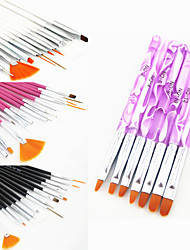 15PCS Acrylic Nail Art Design Painting Drawing Pen Brush(3 Color Choose)with 7PCS UV Gel Brush Set Nylon Hair